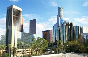 Get discount flights to Los Angeles downtown skyline