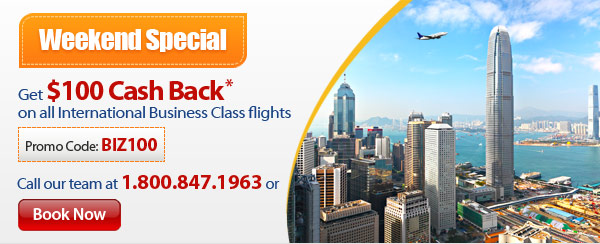 Weekend Special: Book Business Class and Get $100 Cash Back!