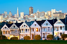 Find low fare tickets to Alamo Square at twilight in San Francisco