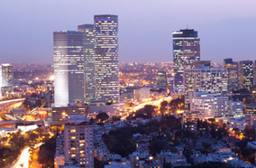 Get cheapest airfares to Tel Aviv skyline at Night