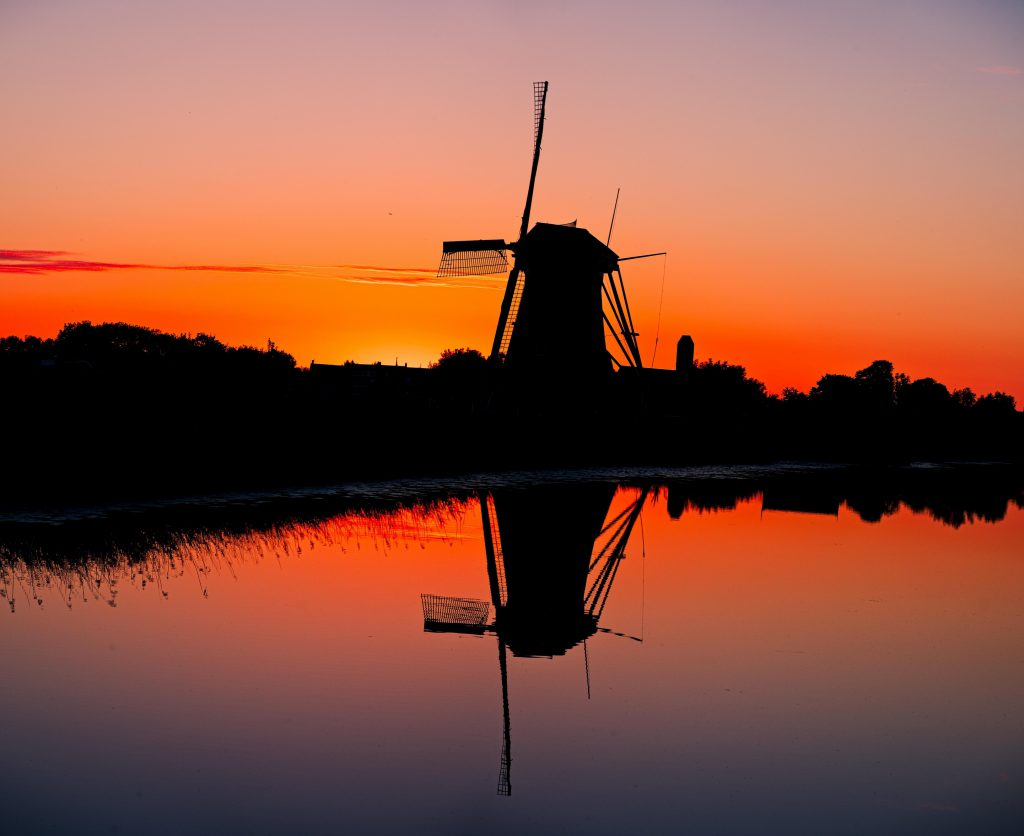 Dutch landscape of windmills