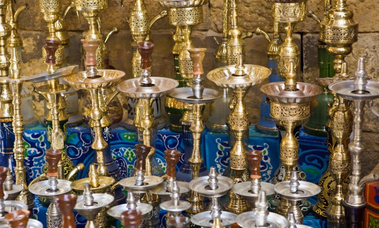 Hookahs in Cairo Bazaar, Khan Al Khalili Bazaar, Cairo, Egypt, Egyptian Culture