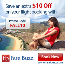 Huge Downfall in Flight Fares. Grab the Perfect Deal from FareBuzz. Promo Code : FALL10